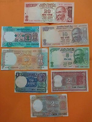 8 DIFFERENT Notes - India Bank Notes - UNC - #uk01- FREE SHIPPING