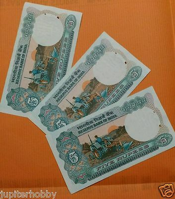 3 Notes -TRACTOR - 5 Rupee India Bank Notes - UNC #au- FREE SHIPPING