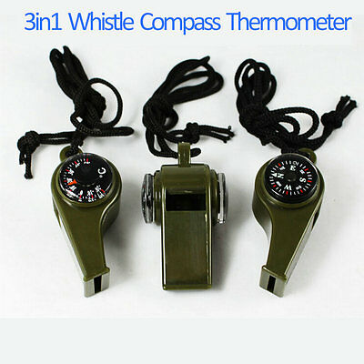 3 in1 Whistle Compass Thermometer For Outdoor Emergency Gear Camping Survival GT