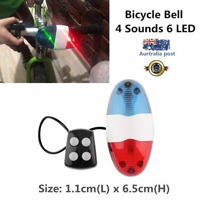 Bike Bicycle Cycling 4 Sounds LED Police Car Siren Electric Light Horn Bell GT