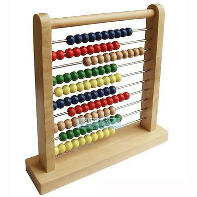 New Wooden Abacus with Metal Bar Kids Math Counting Learning Toy Teaching Aid
