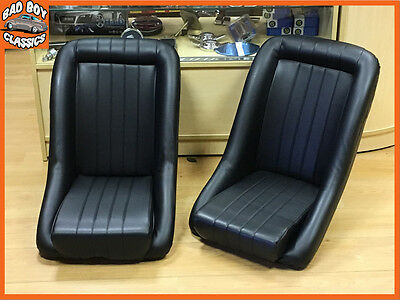 Pair of BB1 Classic Vintage Car Clubman Low Back Bucket Sports Seats UNIVERSAL