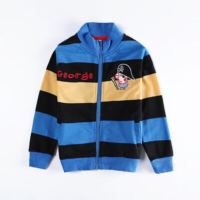 George Pig Pirate Peppa embroidery stripes 100% cotton jacket (18Months-6Years)