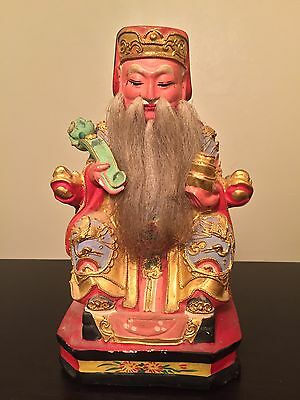 Fine Old Antique Chinese Carved Gilt Imperial King Court Statue Dragon Art WOW