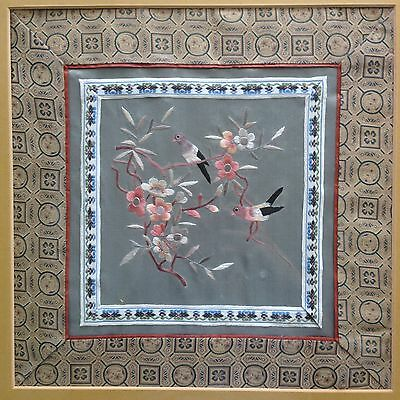 Fine Old Chinese Peking Silk Art Floral Birds Embroidered Square Textile