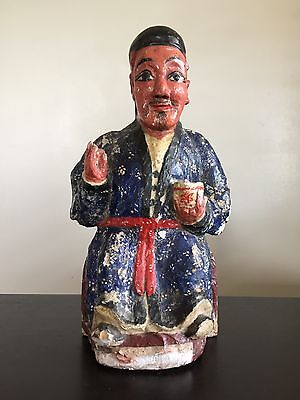 Fine Old Vintage Antique Japanese Temple Shrine Lacquer Carved Polychrome Statue