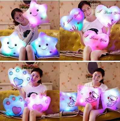 Brand New Gift Romantic LED Light Up Glow Pillow Soft Cosy Relax Cushion Star