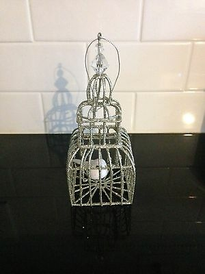 Silver-Glitter Cage with a White Bird on a Swing Christmas Tree Ornament