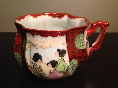 Fine Old Japanese Satsuma Porcelain Teacup Cup 4 Panel Scenes Gold Red WOW