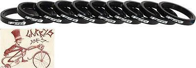 """Fsa 5Mm 1-1/8"""" Alloy Black Spacers W/logo Bicycle Headset Part--Bag Of 10"""