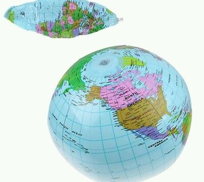 "Inflatable Blow Up Globe 40Cm 16"" Atlas World Map Earth Beach Ball Geography New"