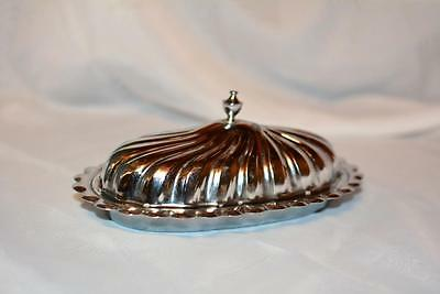 Vintage Metal Mid-Century Silver tone Glass Insert COVERED BUTTER DISH