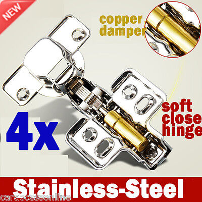 4x cabinet Door hinge Cupboard kitchen Soft Close Full Overlay Stainless steel