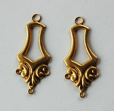Vintage 2 Raw Brass Victorian Stamping Pendant Ornate Beads Earring Bails 4 Hole