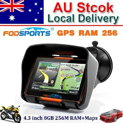 "4.3"" Waterproof Motorcycle GPS Bluetooth Navigator Motorbike Na+Installed Map AU"