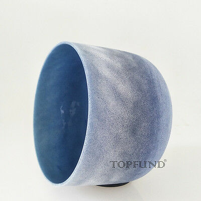Sapphire  Fusion G Throat Chakra Frosted Quartz Crystal Singing Bowl 8''