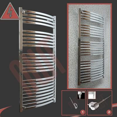 "600mm(w) x 1400mm(h) Pre-Filled Electric ""Ellipse"" Chrome Towel Rail - 400W/600W"