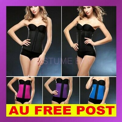 AU Women latex Waist Training Corset Trainer Cincher Underbust Shaper Shapewear