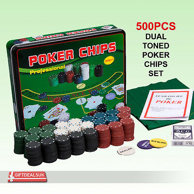 500Pcs Dual Toned Poker Chips Set 2 Decks Playing Card And Play Mat In Metal Box