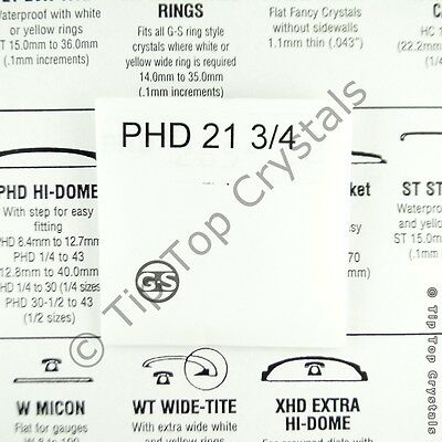 GS PHD HI-DOME 21¾ to 43 (26.4mm - 40mm) High Dome Round Plastic Watch Crystal