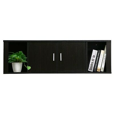 2 Cube Wall Mounted Floating Desk Hutch Storage Organize 2 Door Media Cabinet