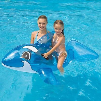"Large Inflatable Ride On Transperent Whale Beach Swimming Pool Toy - 46""x23"""