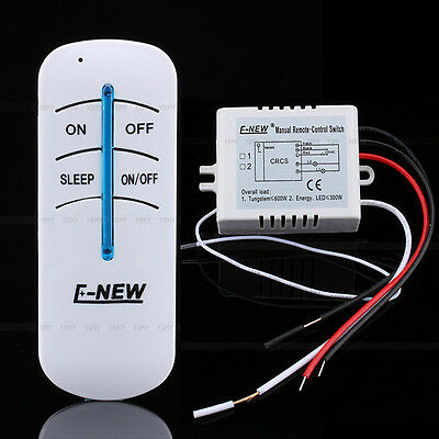 Wireless ABS 220V 1 Way ON/OFF Lamp Remote Control Switch Receiver Transmitter