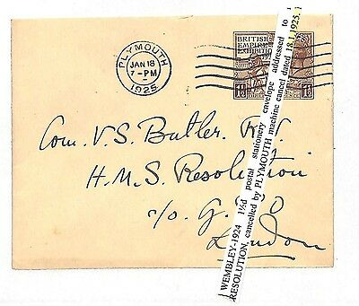 V77 1925 GB WEMBLEY BEE Plymouth 1½d Postal Stationery Env' [Samwells-covers]
