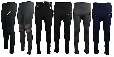 Womens Ladies Black Zip Pocket Thick Leggings Fleece Brush Lined Pants Thermal