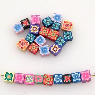 100pcs Assorted Color Flower Pattern Square FIMO Polymer Clay Beads Findings D