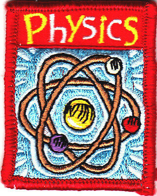 """""""PHYSICS"""" - ron On Embroidered Applique Patch/School, Learning, Research"""