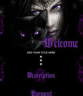 DARK GODDESS eBay Listing Auction Template Wiccan Witch Black Cat Purple Star