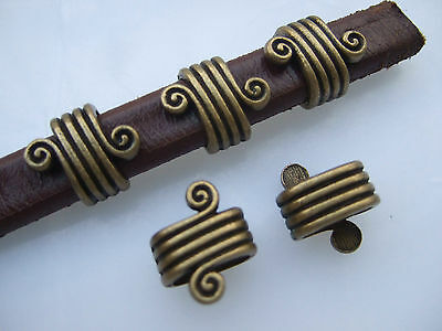 10x Antique Bronze Eddy Shaped Slider Spacer For 10*6mm Licorice Leather Cord