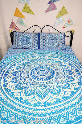Blue Ombre Mandala Duvet Cover Queen Indian Quilt Cover With Two Pillow Cover