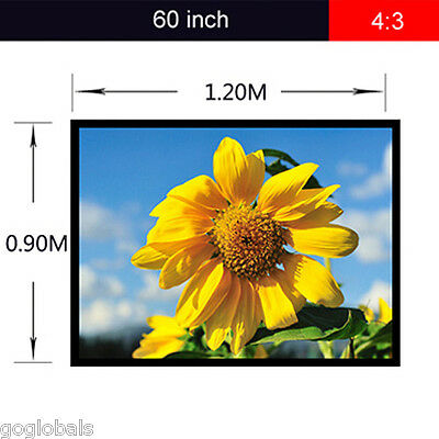 Portable Collapsible 60 inch 4:3 Projector Projection Screen Fabric Matte White