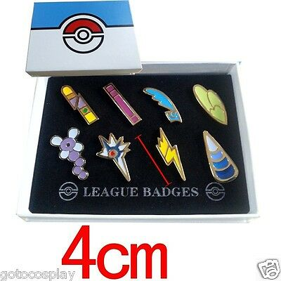 Cosplay POKEMON Gym Badges in box Unova League Set 8 Badge Pins