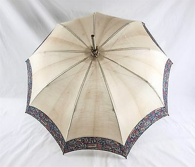 Antique Victorian Edwardian Ladies or Childs Parasol w/ Carved Wood Handle 27""