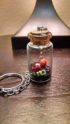 5 Skulls and Black Sand Key Chain Glass Corked Bottle Wicca Voodoo Karma Keepers