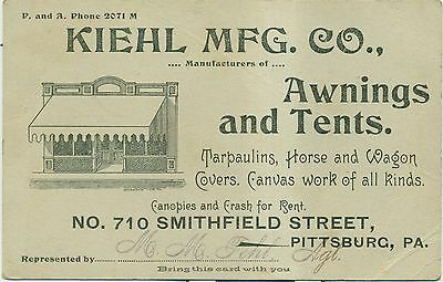 1915 Kiehl Mfg. Co. Awnings and Tents Advertising Card - Pittsburg,PA