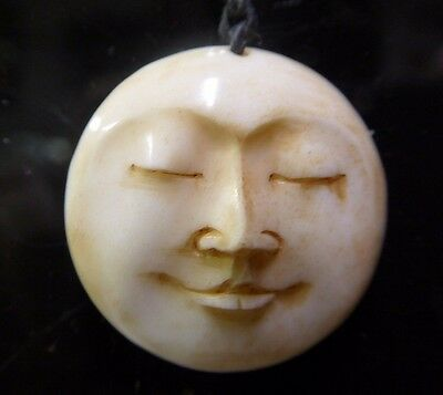 Full Moon Face Eyes Closed Carved Water Buffalo Bone 25mm Round Pendant Amulet