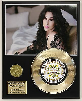 Cher  Laser Etched With Lyrics Limited Edition Gold Record Display