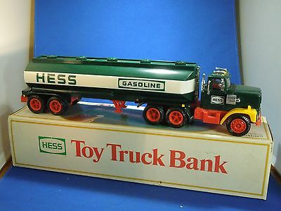 Vintage 1984 The First Hess Truck Reproduction Plastic Toy Truck Bank w Box