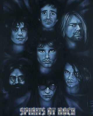 Spirits of Rock Jim Morrison Kurt Cobain Jerry Garcia Marc Bolan 16x20 Studio B