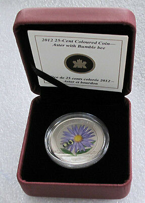 2012 Canada 25 Cents Coloured Coin Aster With Bumble Bee