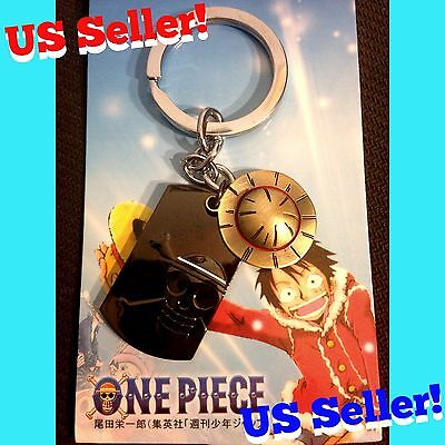 One Piece Anime Metal Luffy Straw Hat Charm + Jolly Roger Skull Dog Tag Keychain