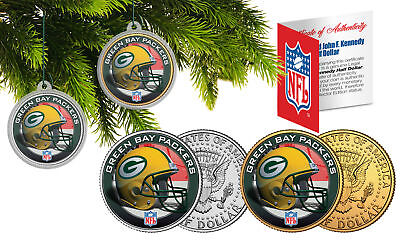 GREEN BAY PACKERS Colorized JFK Half Dollar 2-Coin Set NFL Christmas Ornaments