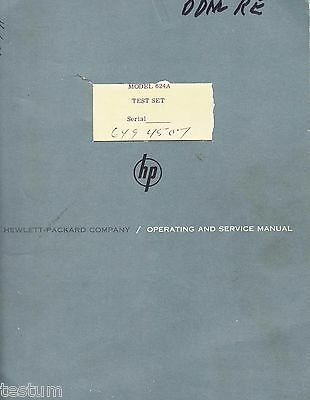 Paper instruction book for HP 624A X Band microwave test set.