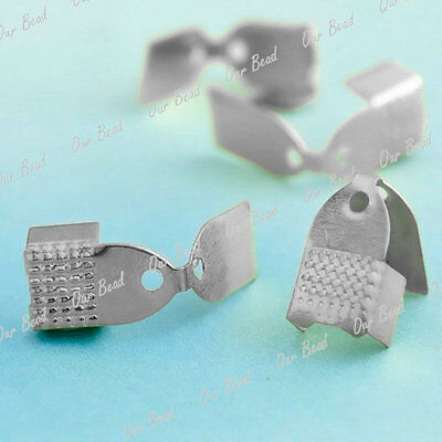 100 approx Nickel Colour cord end cap tip 13x11mm