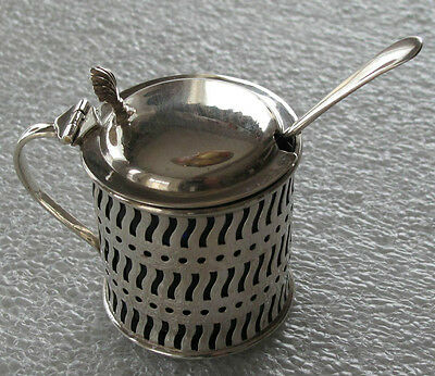 English Sterling Silver Georgian Style Salt Cellar / Mustard Pot Blue Liner 1912