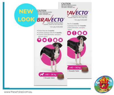 Bravecto for Extra Large Dogs 40 - 56 kg x 2 Chews (6 months treatment)